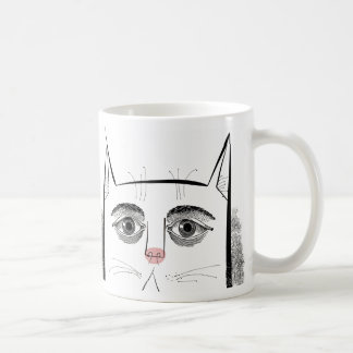Cat face with eyes and pink nose mugs