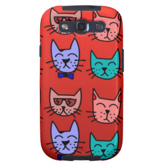 Cat faces on red galaxy SIII case