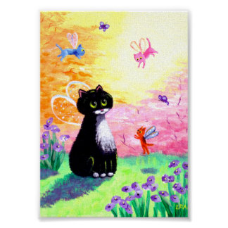 Cat Fairies Angels Tuxedo Black Creationarts Poster