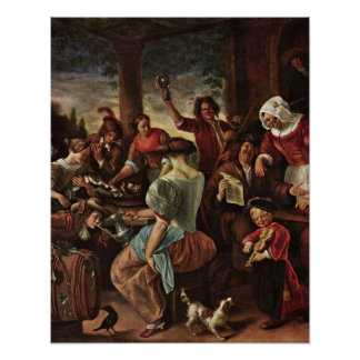 cat family by Jan Havickszoon Steen Posters