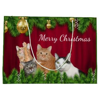 Cat family Christmas Large Gift Bag