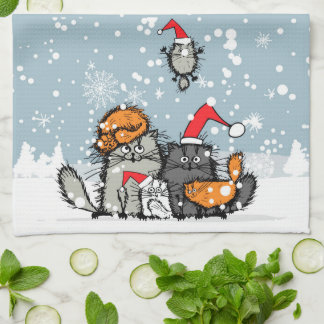 Cat family portrait in the snow tea towel