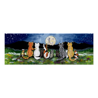 Cat Family Watching Moon Night Poster Navy Tabby