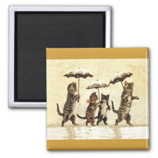 Cat Family With Umbrellas Walking in Snow Magnet