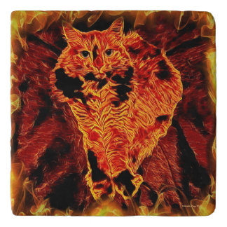 Cat Fire Flames Orange Fantasy Marble Stone Trivet