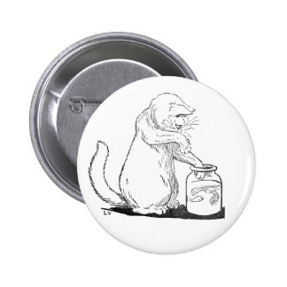 Cat Fishing in Glass Jar Button