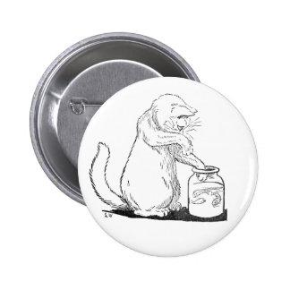 Cat Fishing in Glass Jar Button