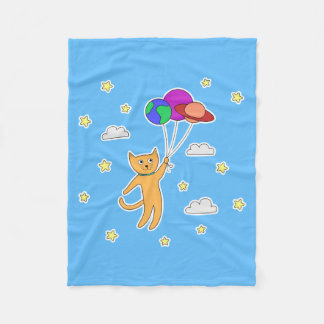 Cat Floating off Into Space with Planet Balloons Fleece Blanket