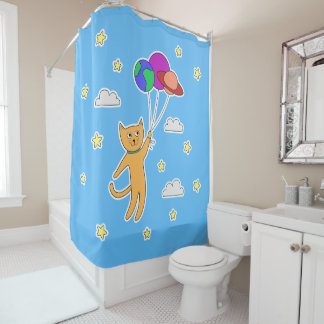 Cat Floating off Into Space with Planet Balloons Shower Curtain