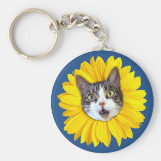 """Cat Flower"" Yellow LOL Funny Keychain"