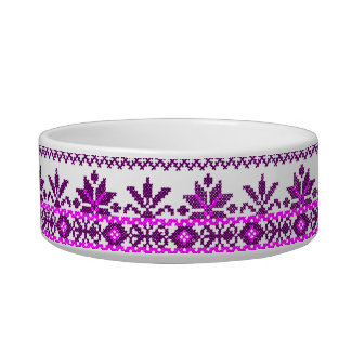 Cat Food Bowl Ukrainian Purple Embroidery