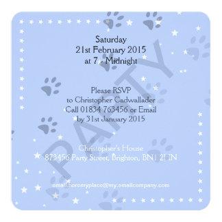 Cat Footprints with Blue Pattern 13 Cm X 13 Cm Square Invitation Card