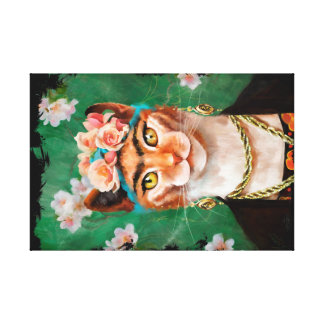 cat Frida with flowers Canvas Print