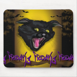 CAT FRIDAY HALLOWEEN CARTOON MOUSE PAD