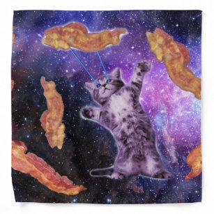 Cat Frying Bacon With Eye Laser Bandana