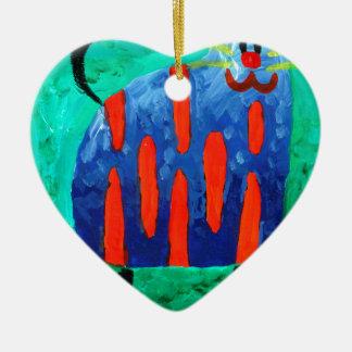 Cat fun drawing painting art handmade Double-Sided heart ceramic christmas ornament