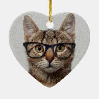 Cat geek ceramic heart decoration