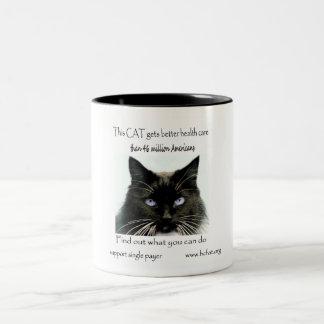 Cat Gets Better Health Care Two-Tone Coffee Mug