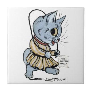 Cat girl, Louis Wain Ceramic Tile