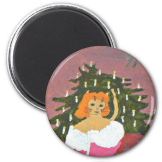 Cat girl with Christmas tree Refrigerator Magnets