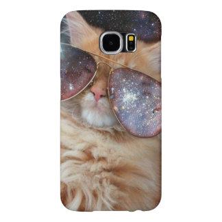Cat Glasses - sunglasses cat - cat space Samsung Galaxy S6 Cases