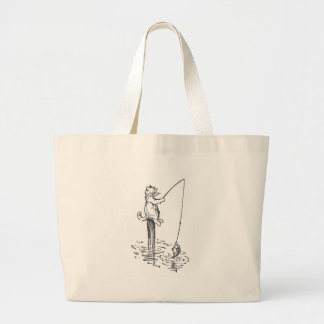 Cat Goes Fishing With a Pole Jumbo Tote Bag