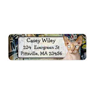Cat Graffiti Street Art background  Address Label