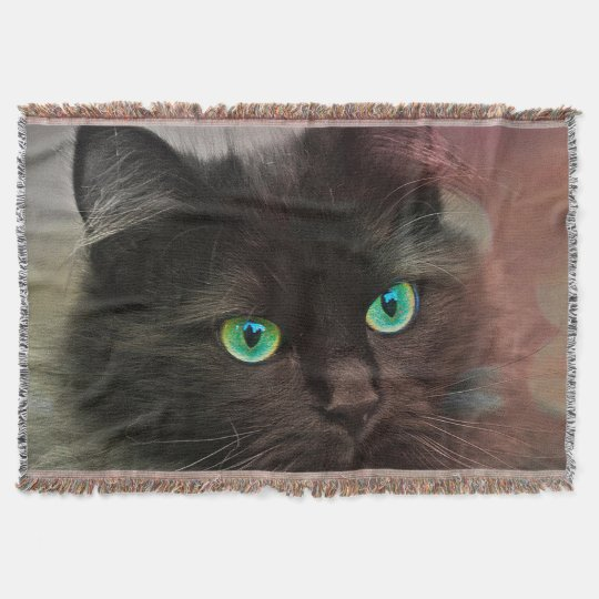 Cat Green Eyes Throw Blanket
