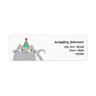 Cat Grey Cute Fat Cartoon Funny Party Modern Cool Return Address Label