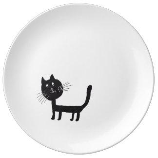 Cat Happy Black Kittie Decorative Porcelain Plate