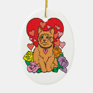 Cat has lots of Love Ceramic Oval Decoration