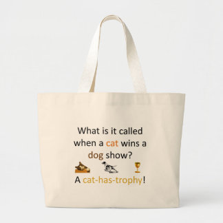 Cat-has-trophy Large Tote Bag
