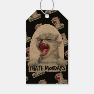 CAT HATE 2 MONDAY CARTOON GIFT TAG Kraft