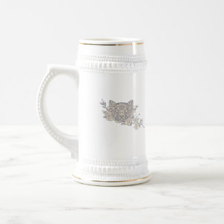 Cat Head Jasmine Flower Mandala Beer Stein