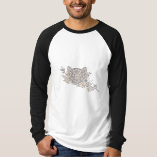 Cat Head Jasmine Flower Mandala T-Shirt