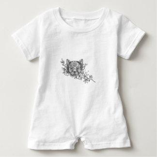 Cat Head Jasmine Flower Tattoo Baby Bodysuit