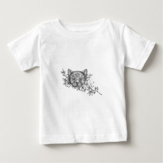 Cat Head Jasmine Flower Tattoo Baby T-Shirt