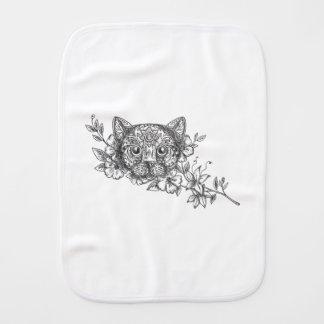 Cat Head Jasmine Flower Tattoo Burp Cloth