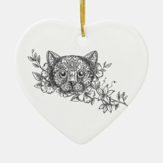 Cat Head Jasmine Flower Tattoo Ceramic Ornament