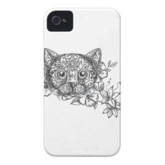 Cat Head Jasmine Flower Tattoo iPhone 4 Covers