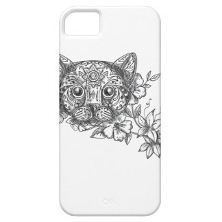 Cat Head Jasmine Flower Tattoo iPhone 5 Cases