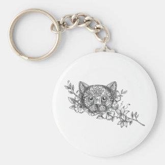 Cat Head Jasmine Flower Tattoo Key Ring