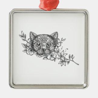 Cat Head Jasmine Flower Tattoo Metal Ornament