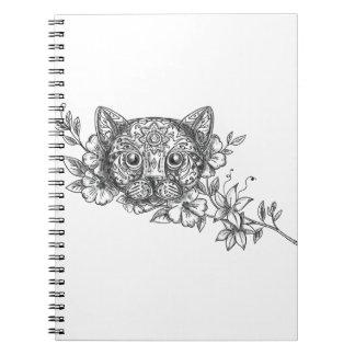 Cat Head Jasmine Flower Tattoo Notebooks