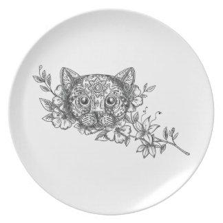 Cat Head Jasmine Flower Tattoo Plate