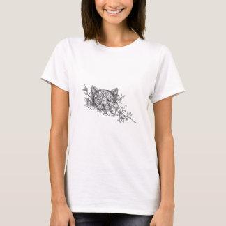 Cat Head Jasmine Flower Tattoo T-Shirt