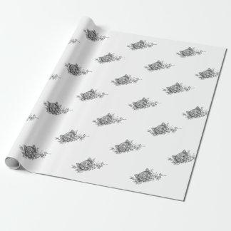 Cat Head Jasmine Flower Tattoo Wrapping Paper