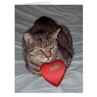 Cat heart bandaid BIG card