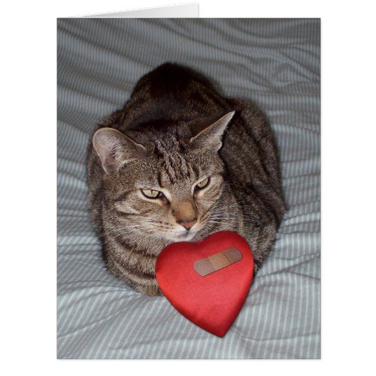 Cat heart bandaid BIG card