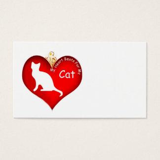 Cat Heart Beats Business Cards